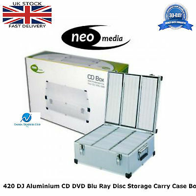 1 x Neo Media 420 Capacity DJ Aluminum SILVER CD DVD Carry Case Box Partitioned
