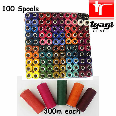 Sewing Thread 100 Pcs Pack Embroidery Box Multiple Assorted Colour Mix Polyester