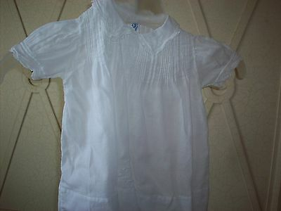 VINTAGE  antique HAND STITCHED & EMBROIDERED Cotton Baby Dress 1940s