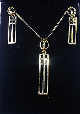 "9ct Gold Charles Rennie Mackintosh Style Necklace and Earrings Set, 17"", NEW"