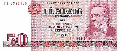 Germany East  50 Mark 1971  Series FF  circulated Banknote
