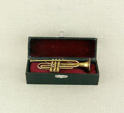 Miniature TROMPETE Musikinstrument in Etui Bronze Messing trumpet case figur RAR