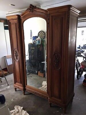 Large Antique 19th Century French Walnut  Knockdown Armoire/bedframe full