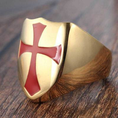 Knights Templar Red Cross Celtic Shield Masonic Stainless Steel Gold Plated Ring
