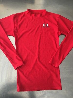 •Under Armour• KIds Unisex Red Long Sleeve Shirt Top Size Youth Small •EUC•
