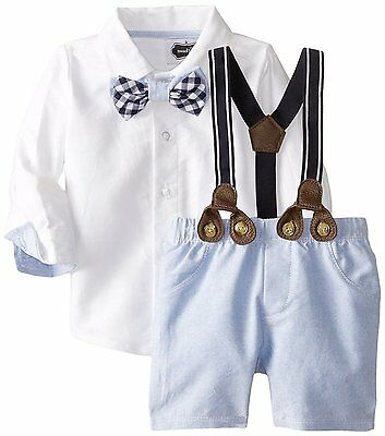4c750ce1b Mud Pie Baby Boys Blue Chambray Easter Suit Short Set with Bow Tie NWT
