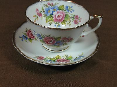 Roslyn Fine Bone China Cup and Saucer Pink and Blue Flowers Heavy Gold Trim