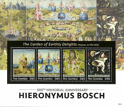 Gambia 2016 MNH Hieronymus Bosch 500th Memorial 4v M/S Art Paintings Stamps