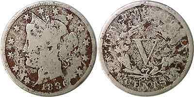"1886 5C Liberty ""V"" Nickel Very Good Details Corroded"