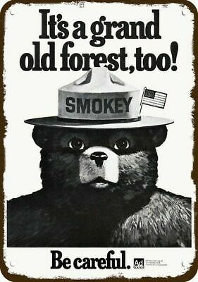 1979 AD COUNCIL Vintage Look Replica Metal Sign - SMOKEY THE BEAR - BE CAREFUL