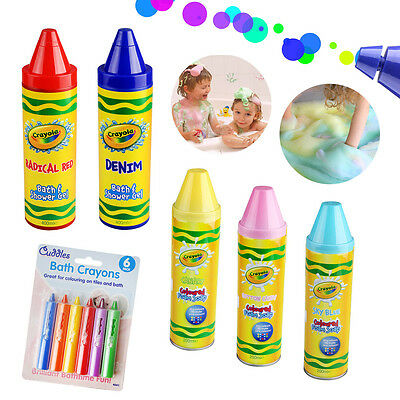 Kids Childrens Crayola Coloured Foam Soap Shower Gel Bath Time Crayons Play Fun