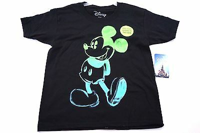 Disney Youth Boys T Shirt Glow In The Dark Painted Mickey Mouse Standing Black