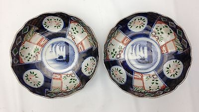 Pair of Antique Japanese Imari Bowls, c.19th C - Hand Painted with Peaches