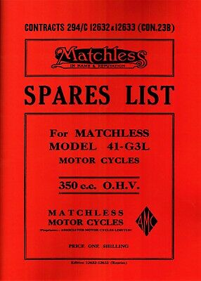 Matchless G3L WD 41 Parts Book 350 Illustrated Spares List Motorcycle