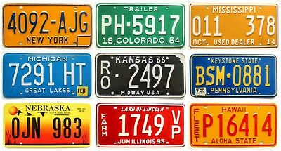 Colorful License Plate Lot (9), Vintage, Modern, HI PA NY NE IL MI CO MS KS