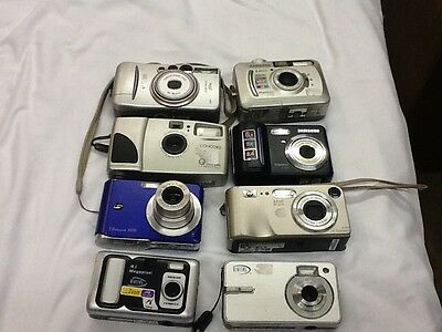Digital camera lot 7 cameras as-is for parts