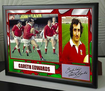 "Gareth Edwards  Rugby Union Framed Canvas Tribute Print Signed ""Great Gift"""
