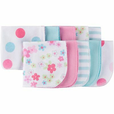 New Baby Girl Infant GERBER 10 Pack Terry Printed Solids Washcloths Pastel