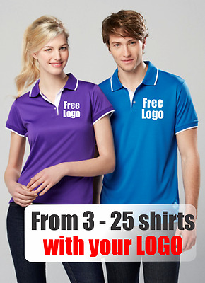 From 3 - 25 shirts Men Miami Polo with Your Embroidered LOGO (Biz P402MS)