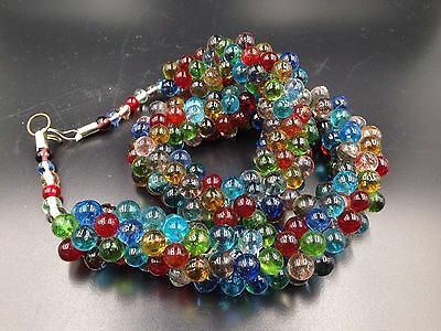 Rare Antique Czech Necklace Czechoslovakia Hand Poured Glass Colorful Candydrops