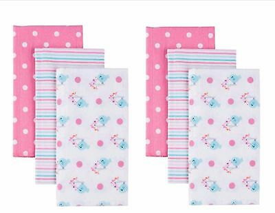 New Gerber Baby Girl Flannel Burp Cloths, 6-Pack
