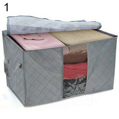 Portable Bamboo Charcoal Clothes Blanket Large Bag Storage Box Organizer Deft