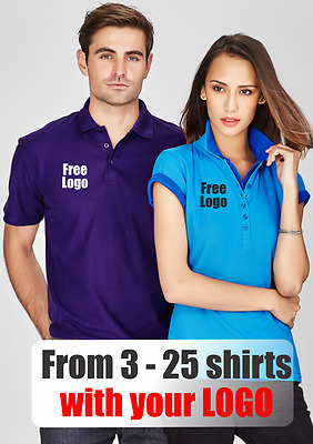 From 3 - 25 shirts Men Crew Polo with Your Embroidered LOGO (Biz P400MS)