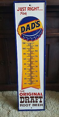 Clean original Dad's Rootbeer Thermometer Sign. 27inx7in. Works! Painted metal!