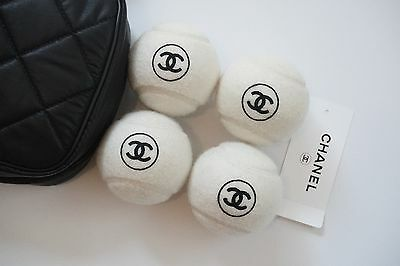 Chanel Tennis Ball Set with Quilted Case CC Logo Karl Lagerfield NEW