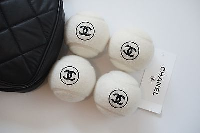 Chanel Tennis Balls with Quilted Case CC Logo Set Karl Lagerfield NEW