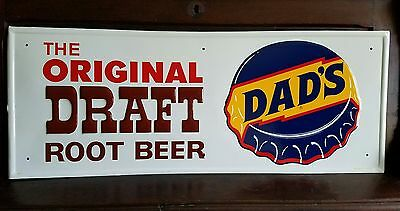 Near mint! Original Dad's Rootbeer Sign. Embossed. Painted metal. 32inx12in