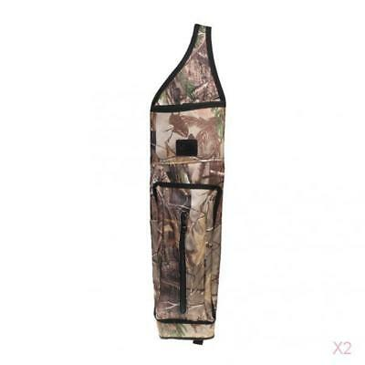 2x Back Archery Quiver Arrow Holder with Strap & Zipper Pocket Outdoor Hunting