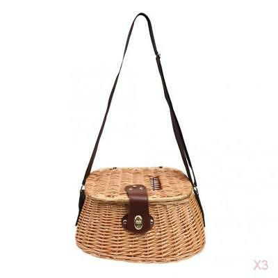 3x Willow Fish Basket Wicker Cage Vintage Fishing Tackle Box Home Decoration