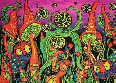 "Psychedelic Trippy Art Fabric poster 32"" x 24"" Decor 36"
