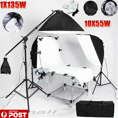 5 HEAD Photo Softbox Continuous Lighting Boom Set Studio Shooting Table KIT-NEW