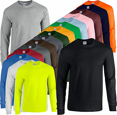 GILDAN Ultra Cotton Long Sleeve T- Shirt LANGARM UNISEX S M L XL XXL (A) TOP NEU