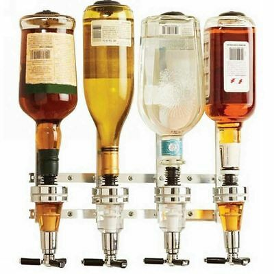 4 Bottle Wall Mounted Holder Wine Liquor Dispenser Alcohol Drink Shot Cabinet