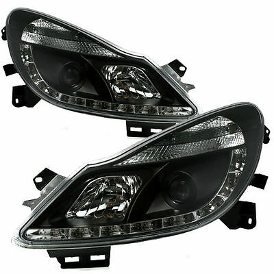 Black Bright Xenon LED DRL Projector Front Headlights for Vauxhall Corsa D 06-11