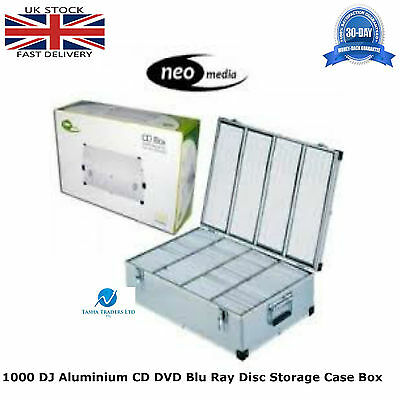 1 x Neo Media 1000 Capacity DJ Aluminum SILVER CD DVD Carry Case Box Partitioned