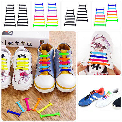 Cool Easy No Tie Shoelaces Elastic Silicone Flat Shoe Lace Set for Kids Adults