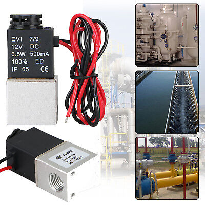 """1/4"""" 2 Way Normally Closed Pneumatic Aluminum Electric Solenoid Air Valve DC 12V"""