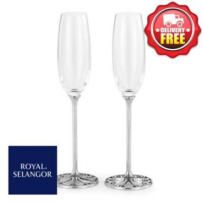 Royal Selangor Tracery Champagne Flutes (Pair) | Engagement and Wedding Gift