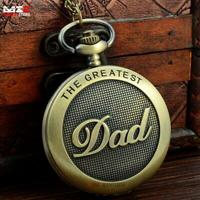 Retro The Greatest Dad Quartz Pocket Watch Vintage Necklace Father's Gift Bronze