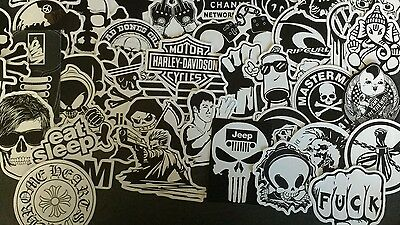50 Black and White vinyl stickers decal joblot sticker bomb waterproof UK JDM