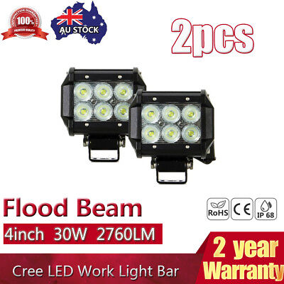 2PCS 4inch 30W LED Work Light Bar Driving Lamp Flood Beam Offroad Truck UTE 4WD