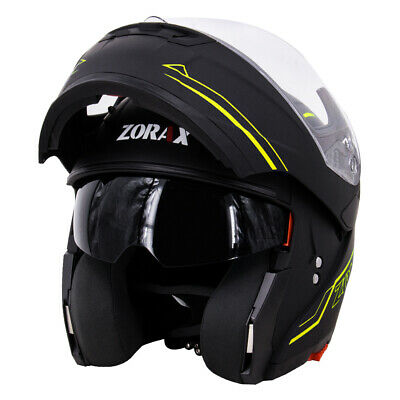 LEOPARD LEO-838 Modular Flip Up DVS Motorbike Motorcycle Helmet Black Yellow