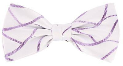 Knightsbridge Neckwear Abstract Silk Bow Tie - White/Lilac