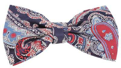 Knightsbridge Neckwear Large Paisley Silk Bow Tie - Red/Navy/Blue