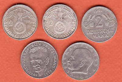 c270 | Germany, five diff 2-Mark coins, 1937-1987 (2 silver) | REDUCED $10