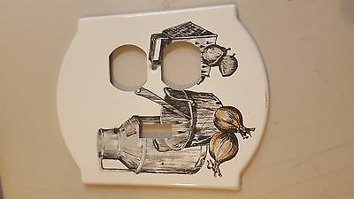 Vintage GE Country Style switch / Outlet combo Metal Cover